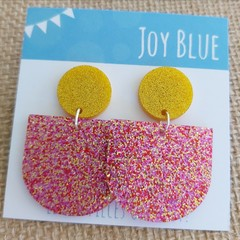 Sparkly drop earrings - yellow and pink