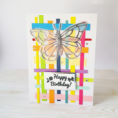 Silver Butterfly Birthday Card, Kids Birthday Card