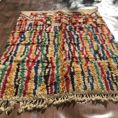 Moroccan Tribal Azilal Rug – Colourful Handmade 100% Wool Rug 223×116