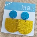 Sparkly drop earrings - blue and yellow