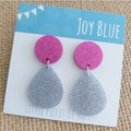 Sparkly drop earrings - hot pink and silver
