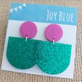 Sparkly drop earrings - hot pink and green