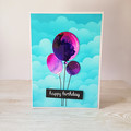 Kids Birthday Card, Alcohol Ink card, 3 Balloons in the Sky