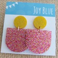 Sparkly drop earrings - pink and yellow