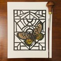 Glasswing Butterfly Edition of 25 -  Linoprint - Watercolour