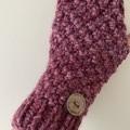 Pink ladies texting gloves purple  handwarmers fingerless gloves