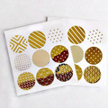 Gold Foil Seals {18} Geometric Prints | Gold Seals | Round Gold Stickers Seals