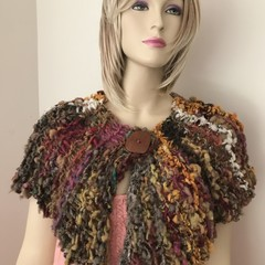 Autumn knit wrap collar handspun