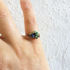 Simple Unique Tribal seed beaded wire ball knot pinky ring , Green Rainbow