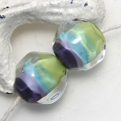 Pair of Green Blue and Purple Lampwork Glass Nugget Beads