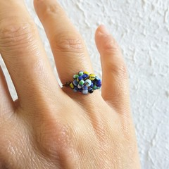 Unique colourful seed beaded wire knot statement ring , Blue White Green Yellow