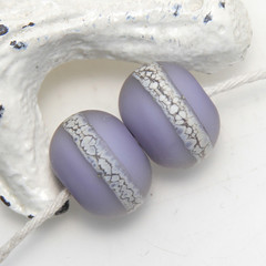 Pair of Purple Etched Organic Lampwork Glass Beads