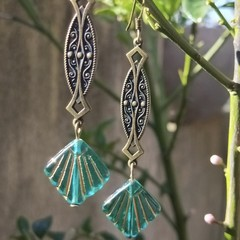 Art deco styled earrings with bronze hanger & vintage Czech pressed glass drop.