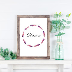Personalised Name Wreath,  PINK & PURPLE Water colour Feathers, Digital, GIRLS