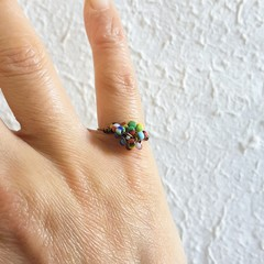 Unique Colourful Hippie Tribal style seed beaded wire ball knot ring , Rainbow
