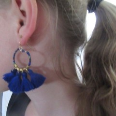 Drop earrings created from glass & silk