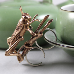 The Golden Cricket Adjustable Ring