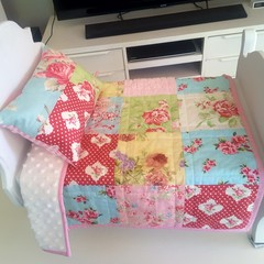 Dolls quilt and pillow, dolls bedding, girl gift, Dolls pretend play