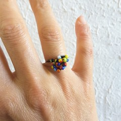 Unique Colourful Tribal style seed beaded wire knot statement ring , Rainbow