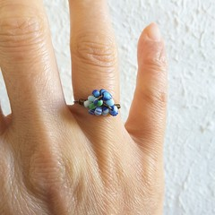 Unique Bohemian Tribal style seed beaded wire ball knot ring , Blue Whit Green
