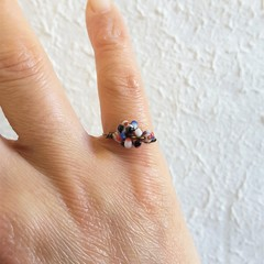 Unique Simple Chic style seed beaded wire ball knot ring , White Red Blue Black