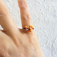 Colourful Tribal seed beaded wire ball knot pinky ring , Orange Yellow Red White