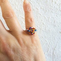 Unique Colourful Tribal style seed beaded wire ball knot ring , Red Rainbow