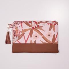 Pink wattle print clutch bag for women