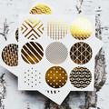 Gold Foil Seals {18} Geometric Prints   Gold Seals   Round Gold Stickers Seals