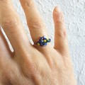 Unique Colourful Modern style seed beaded wire ball knot ring , Blue Rainbow