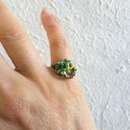 Unique Natural Hippie style seed beaded wire knot statement ring , Green Rainbow