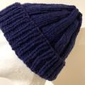 Navy blue alpaca men's or ladies PomPom beanie blue