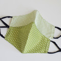 Women green checked polka dots face mask   Reversible  Face cover 3 layers