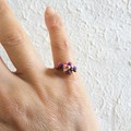 Dainty Artsy Modern style seed beaded wire ball knot ring , Purple Rainbow