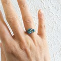 Dainty Colourful Tropical style seed beaded wire ball knot ring , Green Blue