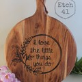 Personalised Etched Timber Acacia Boards -Heart Wreath