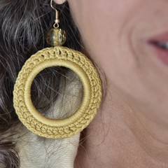 Pale Yellow Crochet Hoop Earrings