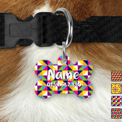 Personalised Bright Geometric Double Sided Pet ID Tag, Dog tag, Cat tag