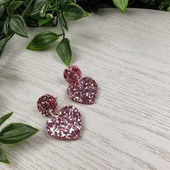 Musk pink Heart Drop Resin - Stud Dangle earrings