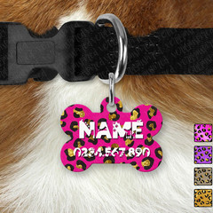 Bone Personalised Pastel Camo Double Sided Pet ID Tag, Dog
