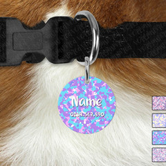 Small Pastel Camo Round Personalised Double Sided Pet ID Tag, Dog tag, Cat tag