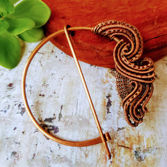 Pure copper wire wrapped Pennanular brooch - celtic brooch - shawl or scarf pin