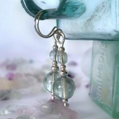 Aqua fluorite bead and sterling silver boho chic dangle earrings
