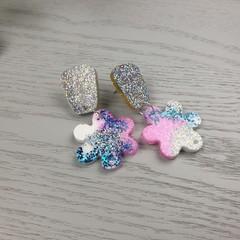Blooming Sparkle Mermaid Small Flower Drop Resin - Stud Dangle earrings