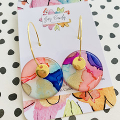 Colourful 2.5cm Ink Hoops with Gold Charm