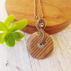 Copper Wire wrapped zebra stone donut statement pendant necklace - OOAK - copper