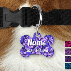 Bone Personalised Dark Camo Double Sided Pet ID Tag, Dog tag, Cat tag,