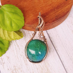 Stunning resin cabachon wire wrapped statement pendant necklace - OOAK - copper