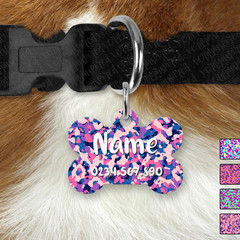 Bone Personalised Bright Camo Double Sided Pet ID Tag, Dog tag, Cat tag,