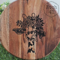 Personalised Etched Timber Acacia Boards -Beautiful Giraffe
